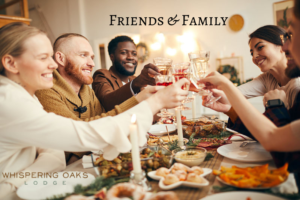 Friends and family gathered around the table for the holidays unaware of others addiction struggles